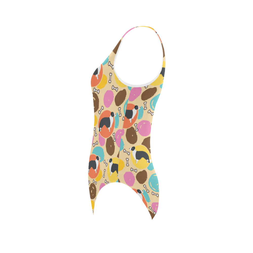 Border Collie Pattern Vest One Piece Swimsuit - TeeAmazing