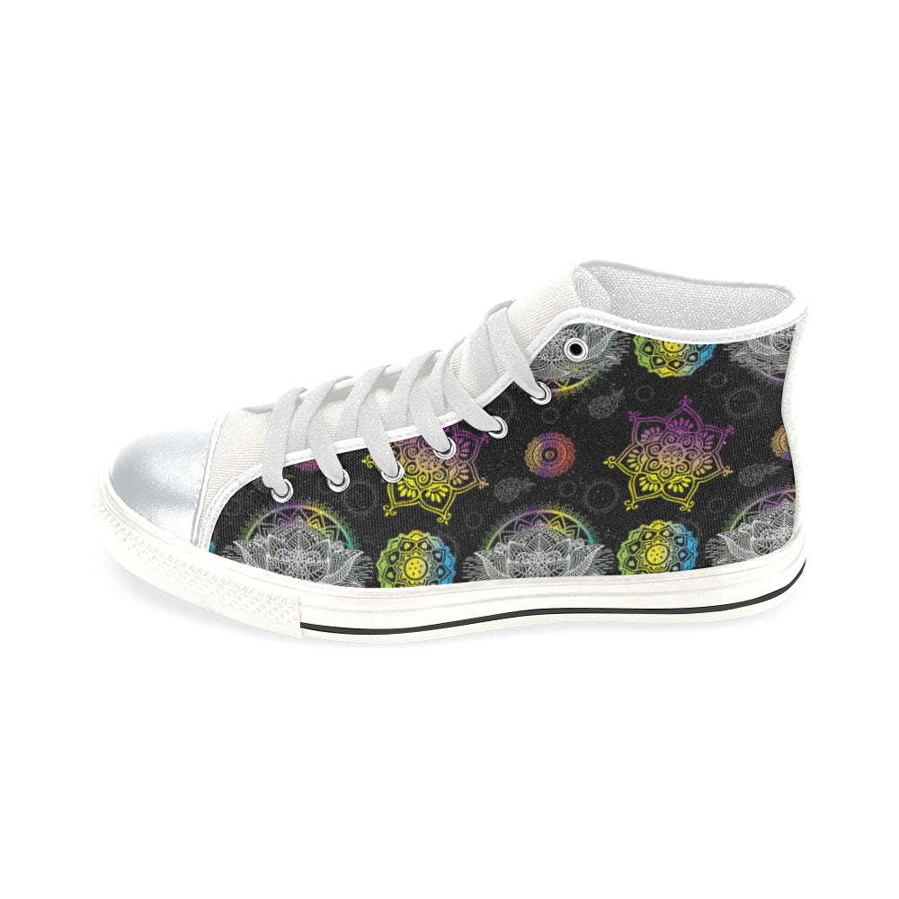 Lotus and Mandalas White High Top Canvas Shoes for Kid - TeeAmazing