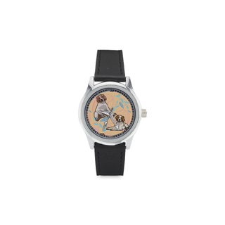 Brittany Spaniel Flower Kid's Stainless Steel Leather Strap Watch - TeeAmazing
