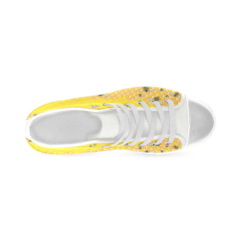 Bee Pattern White High Top Canvas Women's Shoes/Large Size - TeeAmazing