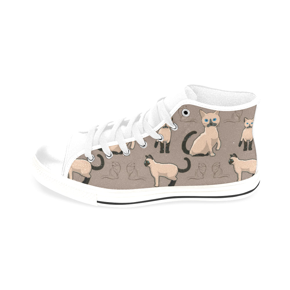 Tonkinese Cat White Men's Classic High Top Canvas Shoes /Large Size (Model 017) - TeeAmazing