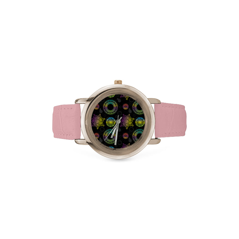 Chakra Women's Rose Gold Leather Strap Watch - TeeAmazing