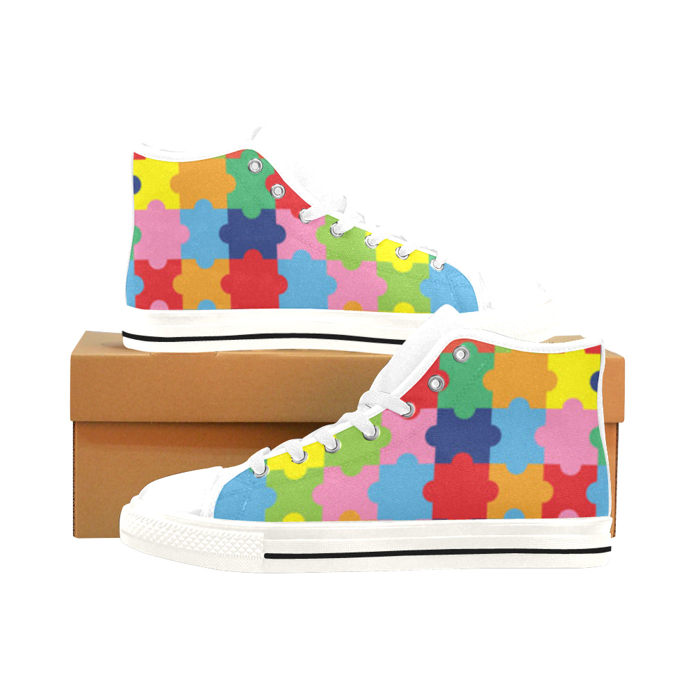 Autism White Men's Classic High Top Canvas Shoes /Large Size - TeeAmazing
