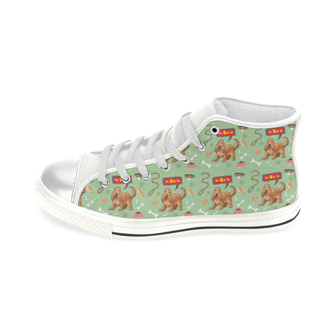 American Cocker Spaniel Pattern White Women's Classic High Top Canvas Shoes - TeeAmazing