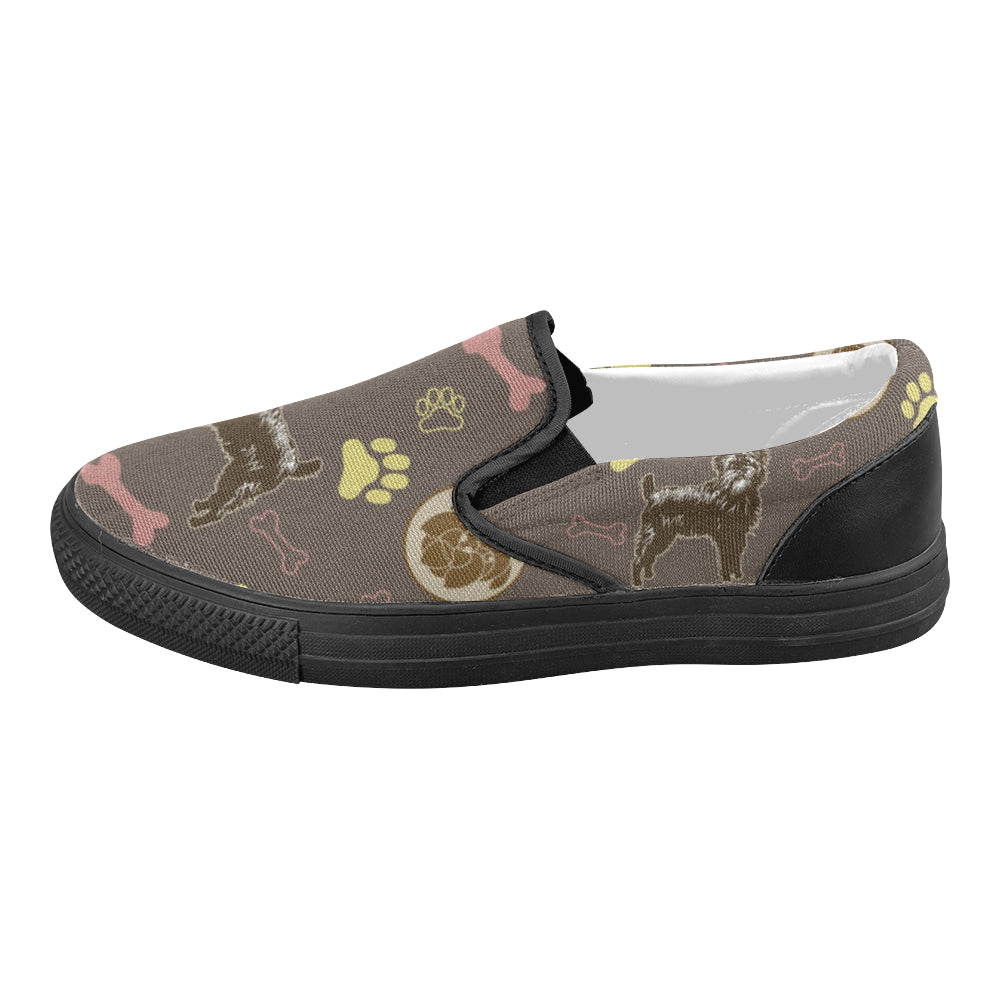 Affenpinschers Pattern Black Women's Slip-on Canvas Shoes - TeeAmazing
