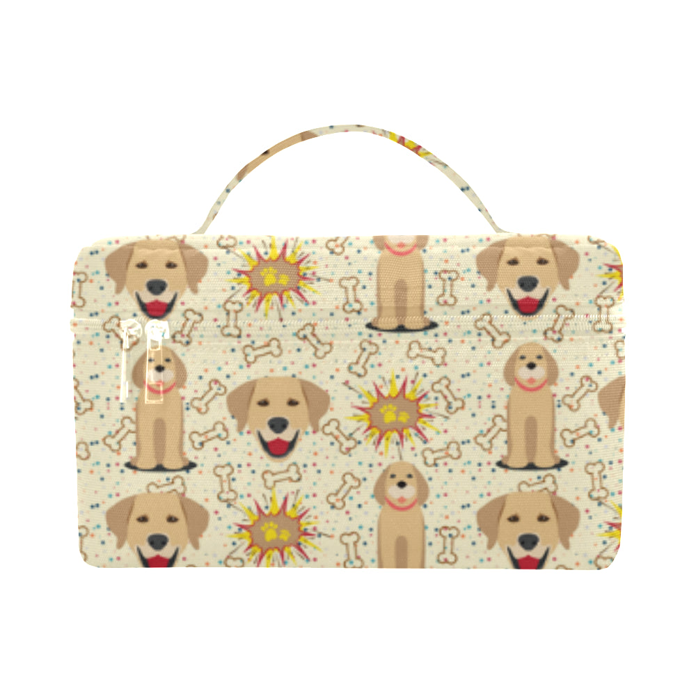 Golden Retriever Pattern Cosmetic Bag/Large - TeeAmazing