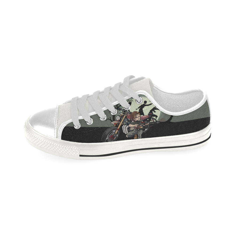 Daryl Dixon White Low Top Canvas Shoes for Kid - TeeAmazing