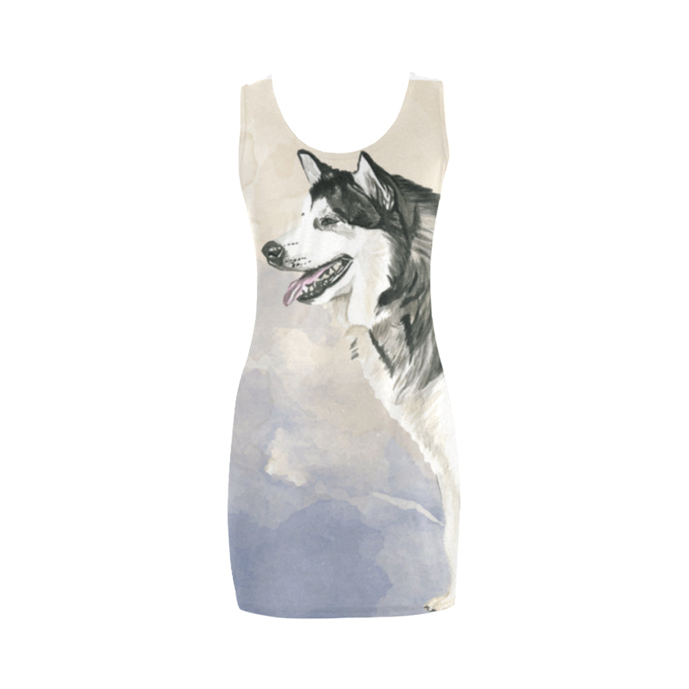 Alaskan Malamute Water Colour Medea Vest Dress - TeeAmazing
