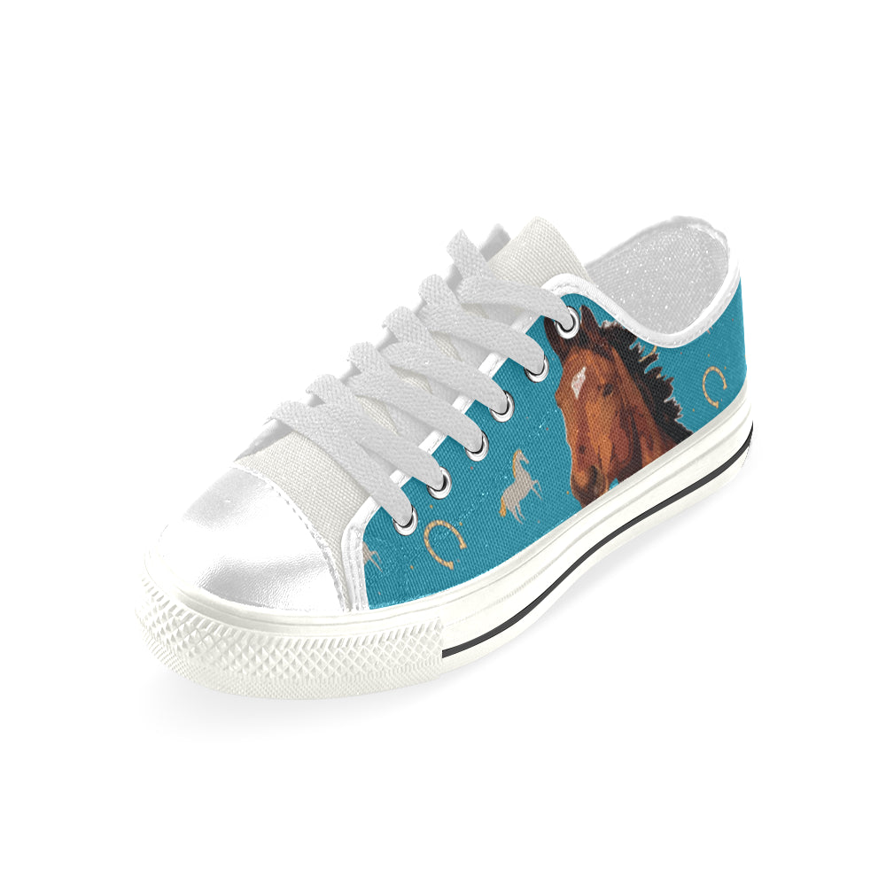 Horse White Low Top Canvas Shoes for Kid - TeeAmazing