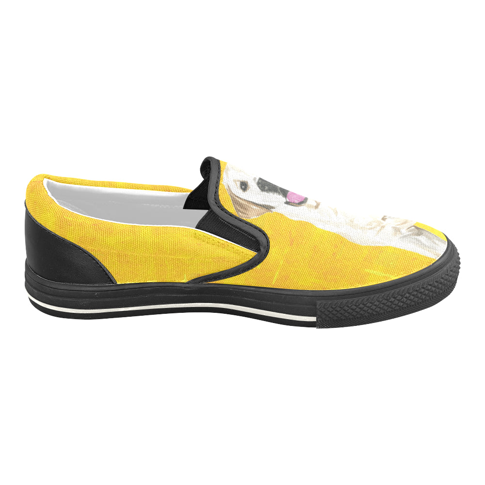 Labrador Retriever Water Colour No.1 Black Women's Slip-on Canvas Shoes/Large Size (Model 019) - TeeAmazing