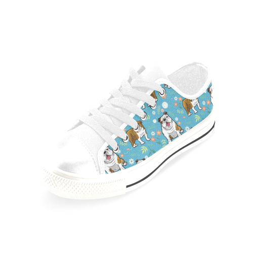 English Bulldog Flower White Men's Classic Canvas Shoes/Large Size (Model 018) - TeeAmazing