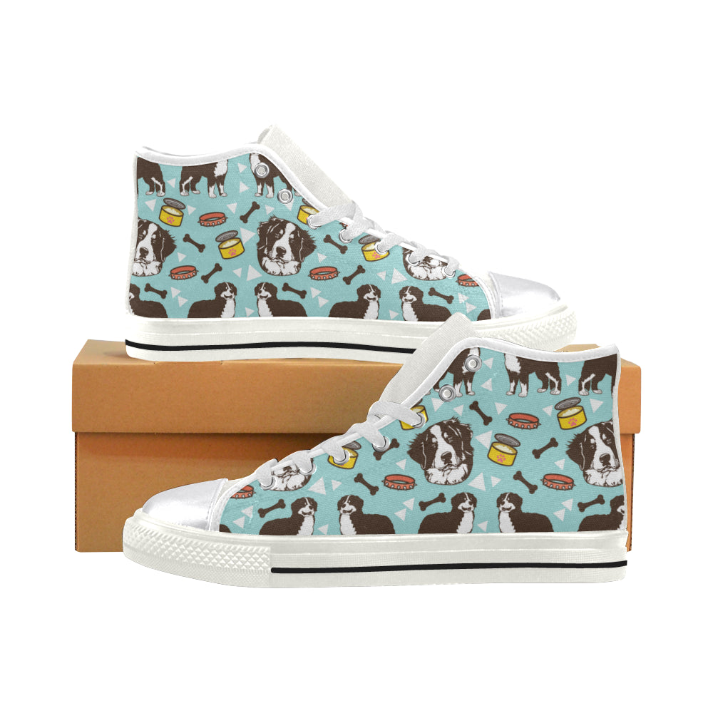 Bernese Mountain Pattern White Women's Classic High Top Canvas Shoes - TeeAmazing