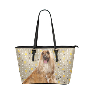 Afghan Hound Leather Tote Bag/Small - TeeAmazing