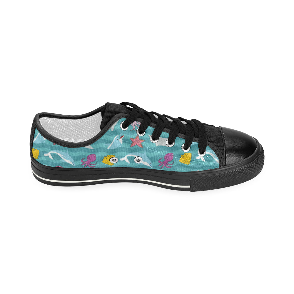 Dolphin Black Women's Classic Canvas Shoes - TeeAmazing