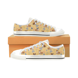 Corgi Flower White Low Top Canvas Shoes for Kid (Model 018) - TeeAmazing