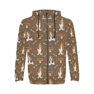Basset Fauve All Over Print Full Zip Hoodie for Men (Model H14) - TeeAmazing