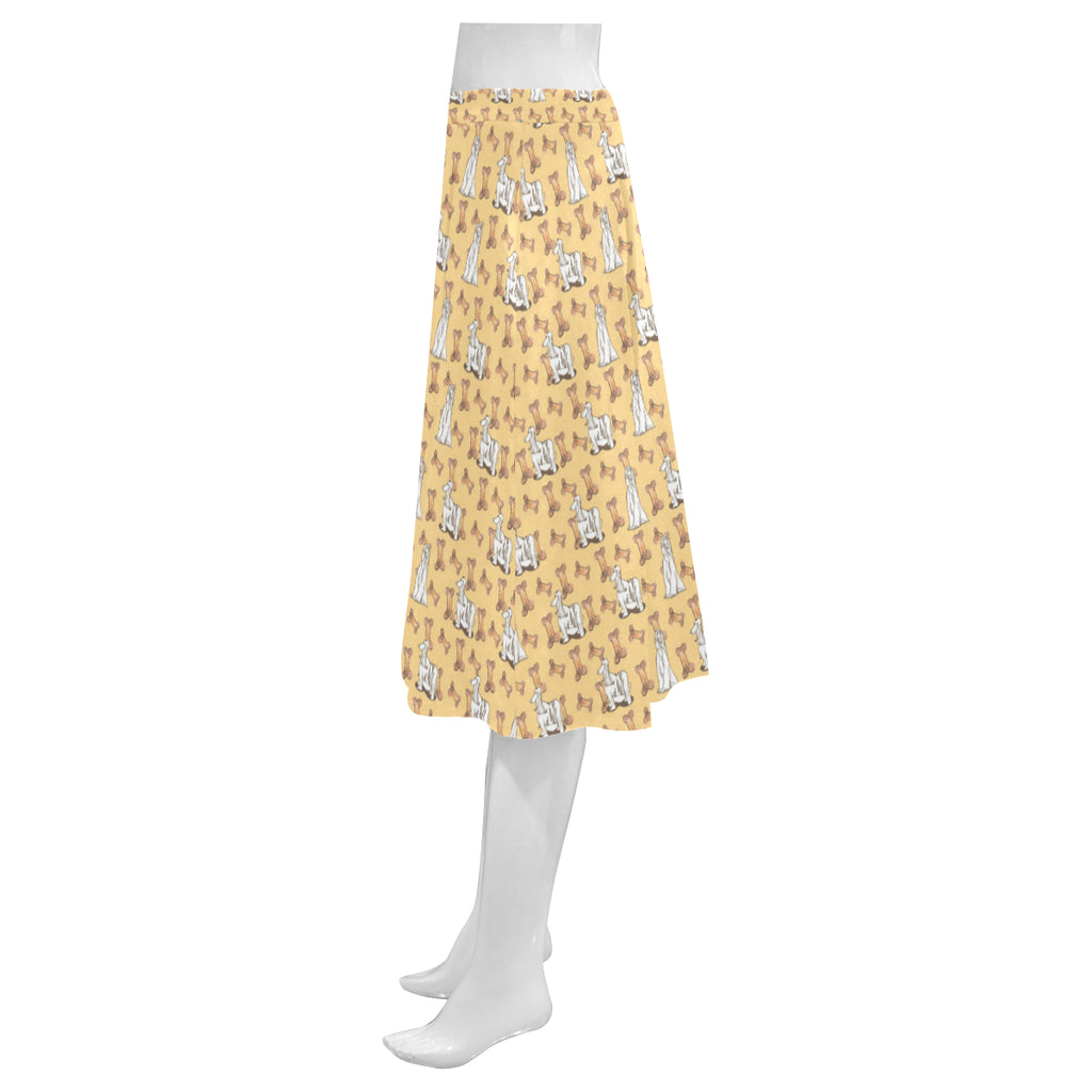Afghan Hound Pattern Mnemosyne Women's Crepe Skirt(Model D16) - TeeAmazing