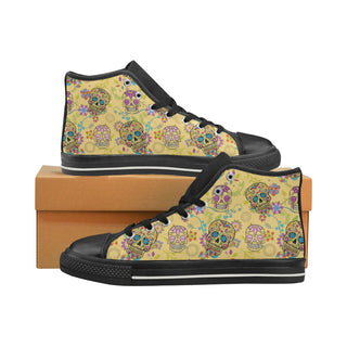 Sugar Skull Black Women's Classic High Top Canvas Shoes (Model 017) - TeeAmazing