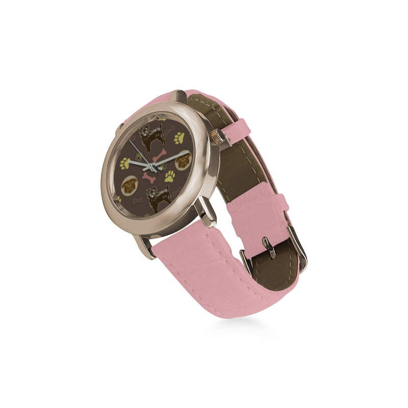 Affenpinschers Pattern Women's Rose Gold Leather Strap Watch - TeeAmazing
