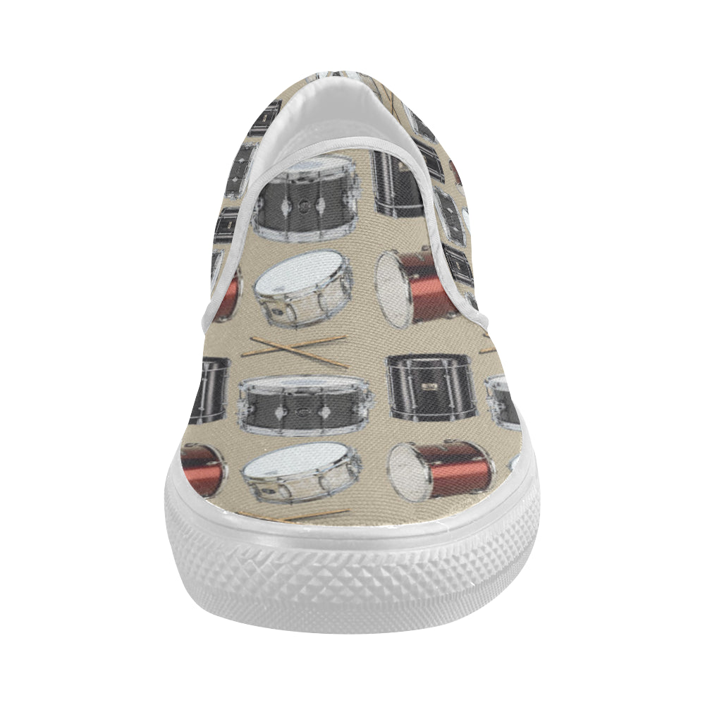 Drum Pattern White Women's Slip-on Canvas Shoes - TeeAmazing