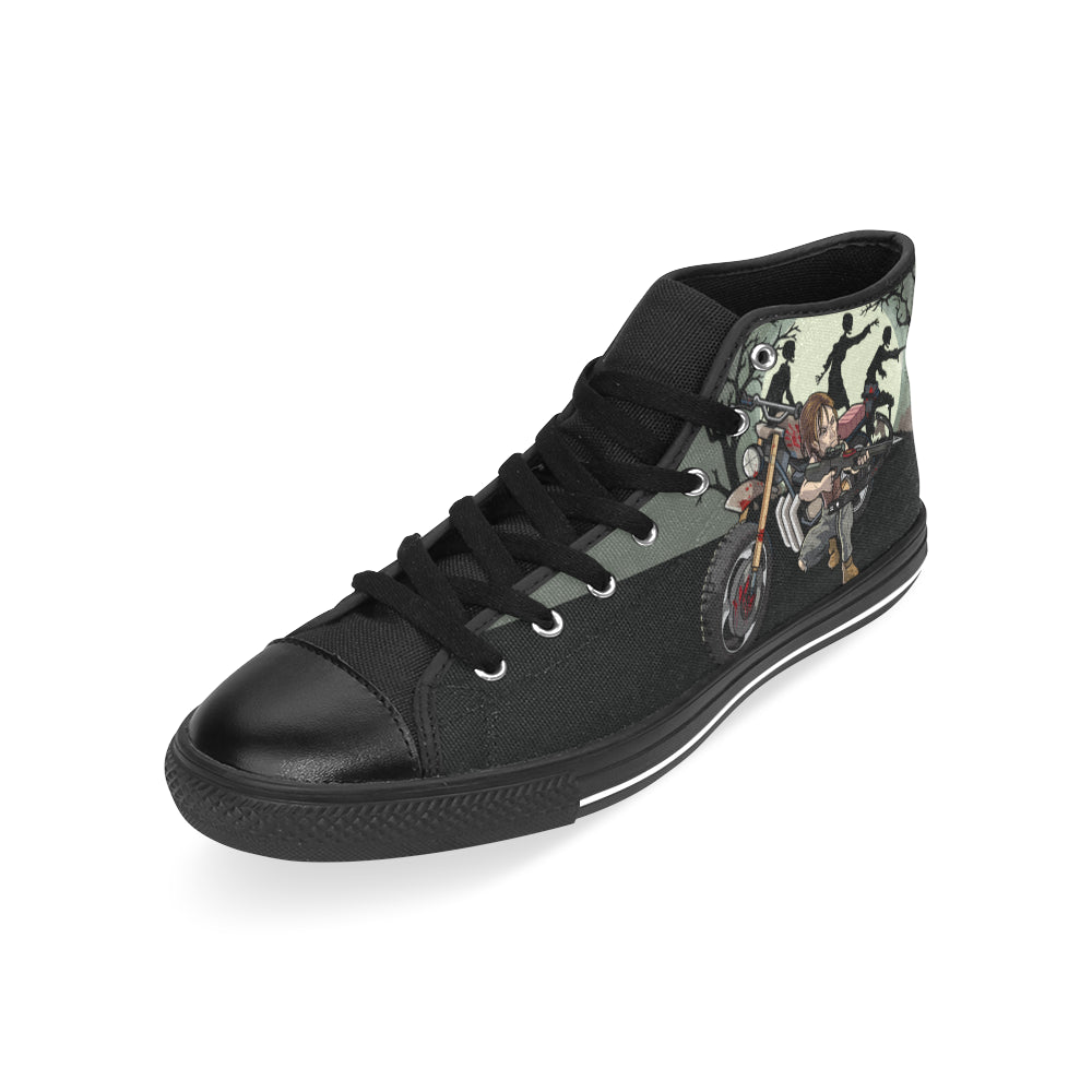 Daryl Dixon Black Men's Classic High Top Canvas Shoes /Large Size - TeeAmazing