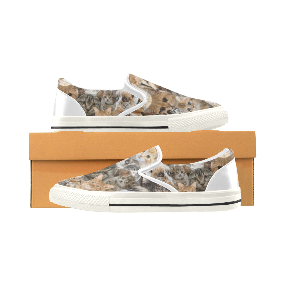 Cat White Women's Slip-on Canvas Shoes/Large Size (Model 019) - TeeAmazing