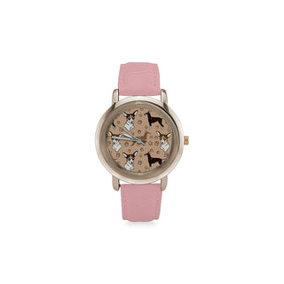 Manchester Terrier Women's Rose Gold Leather Strap Watch - TeeAmazing