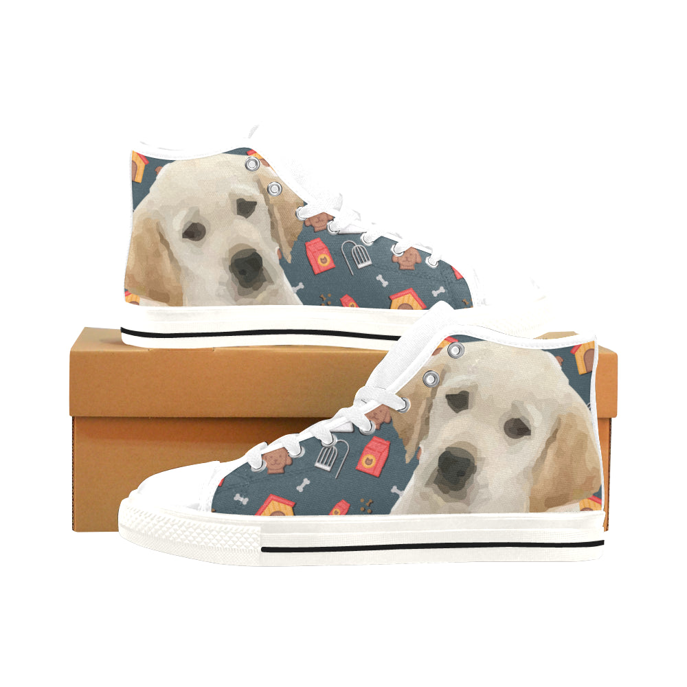 Goldador Dog White Men's Classic High Top Canvas Shoes /Large Size - TeeAmazing