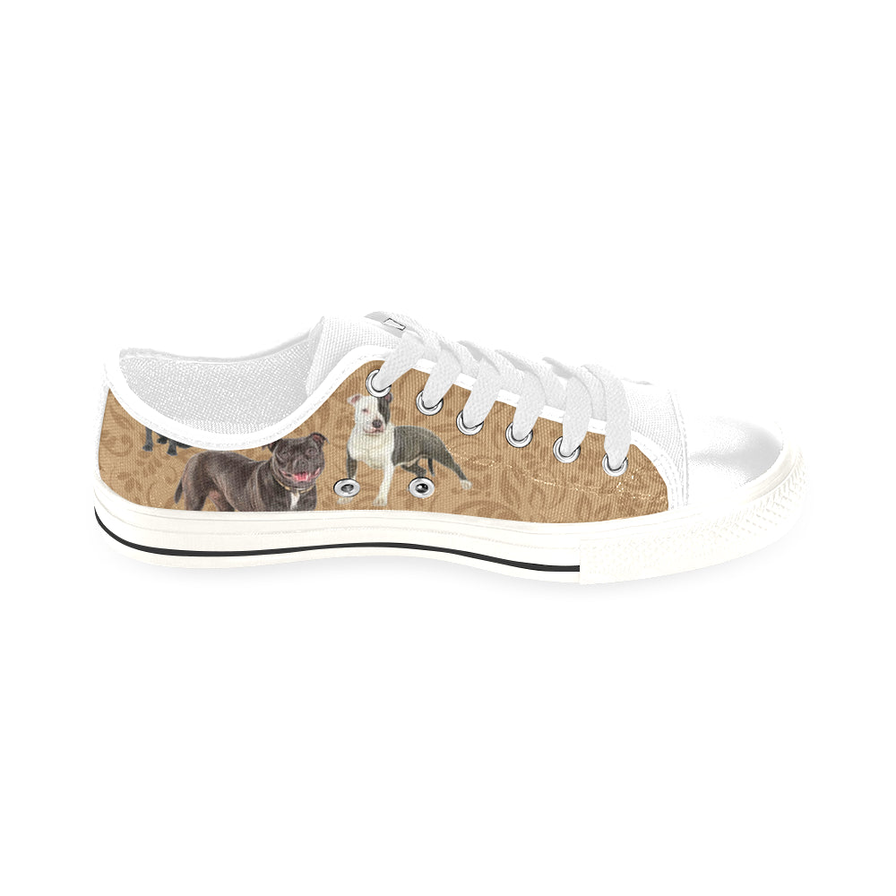 Staffordshire Bull Terrier Lover White Men's Classic Canvas Shoes/Large Size - TeeAmazing