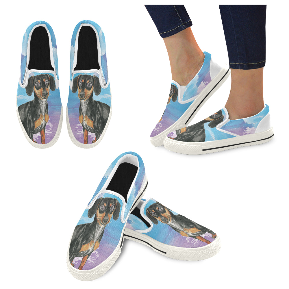 Dachshund Water Colour No.1 White Women's Slip-on Canvas Shoes/Large Size (Model 019) - TeeAmazing