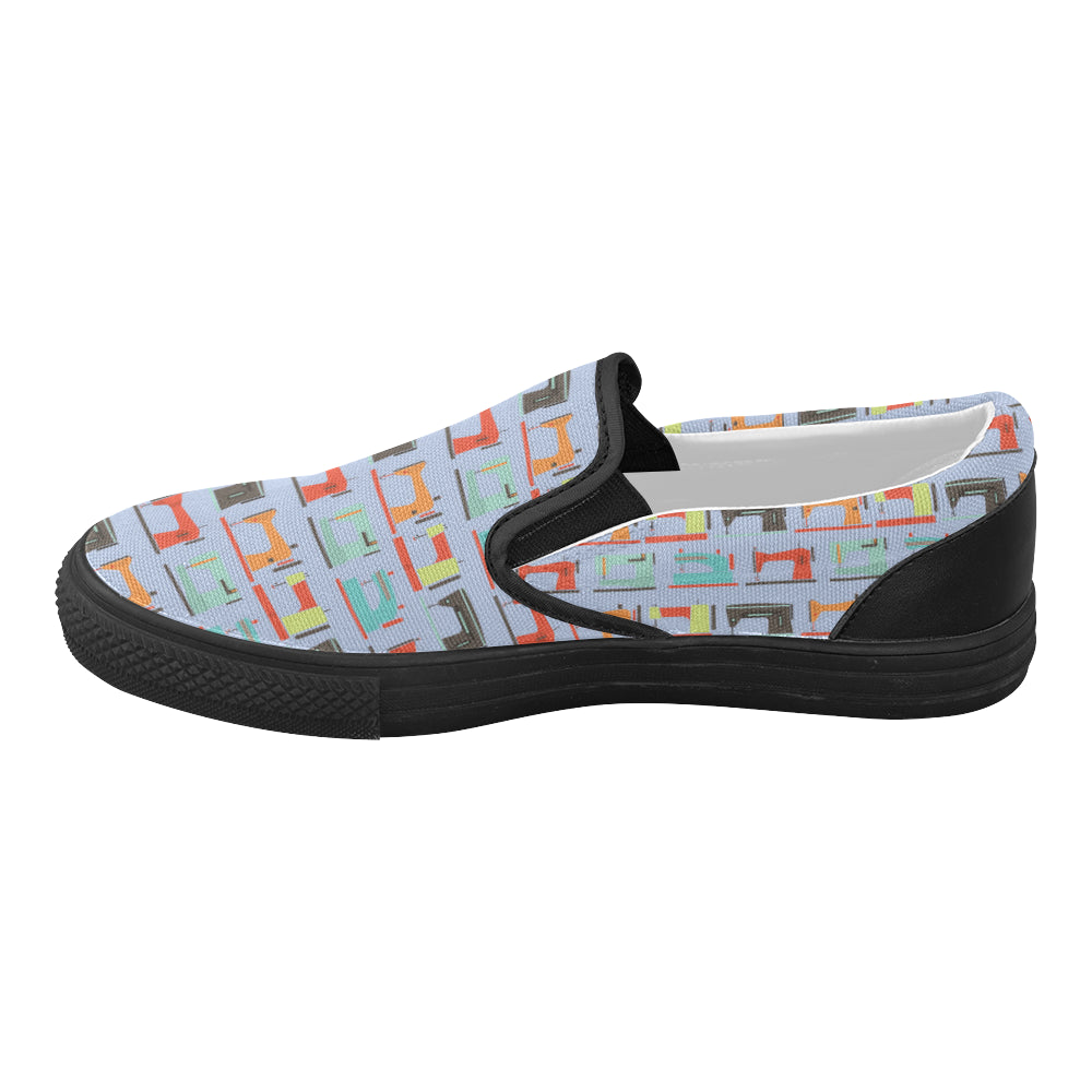 Sewing Machine Pattern Black Women's Slip-on Canvas Shoes - TeeAmazing