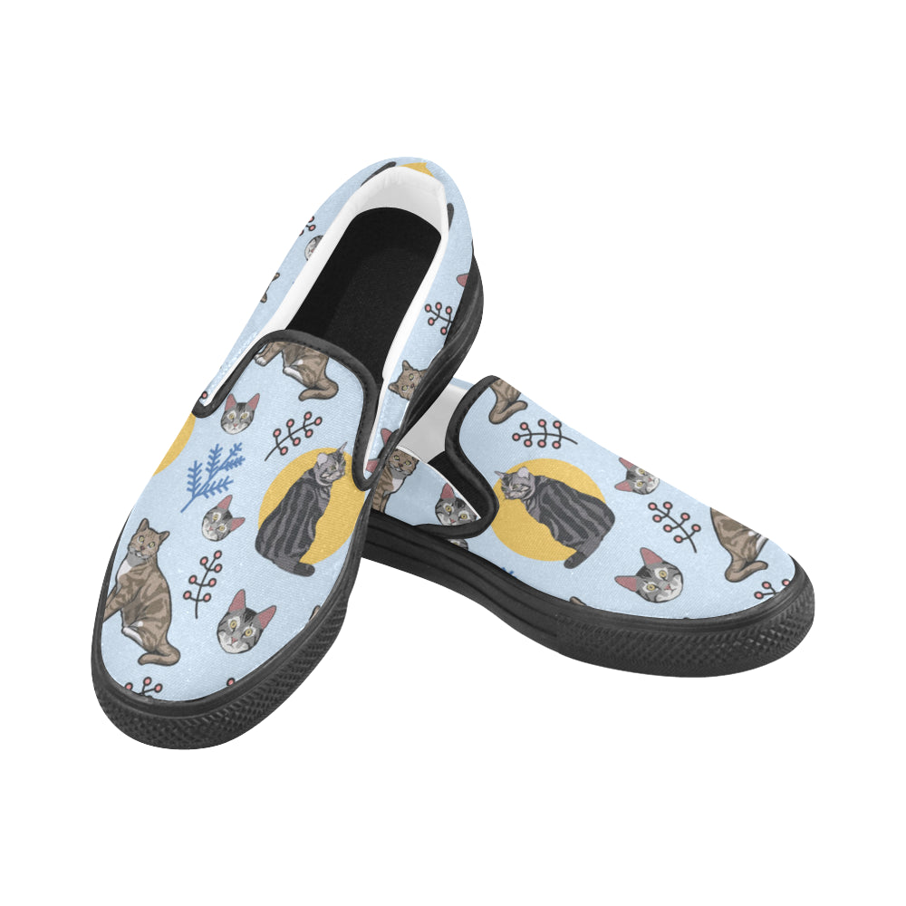 American Shorthair Black Women's Slip-on Canvas Shoes - TeeAmazing