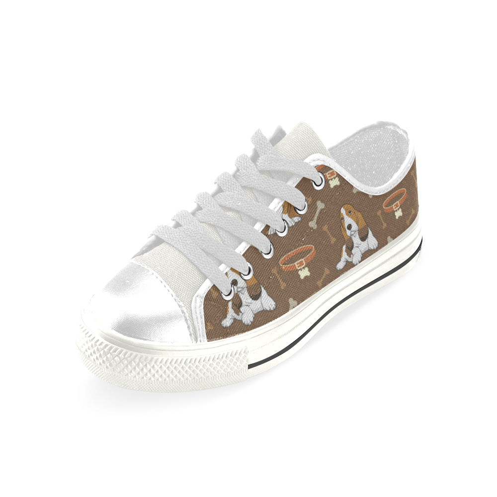 Basset Fauve White Low Top Canvas Shoes for Kid - TeeAmazing