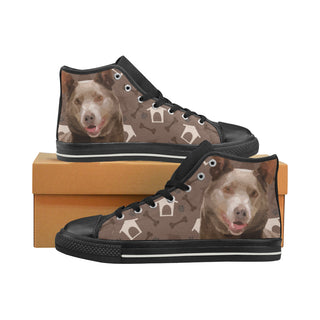 Australian Kelpie Dog Black Men's Classic High Top Canvas Shoes (Model 017) - TeeAmazing