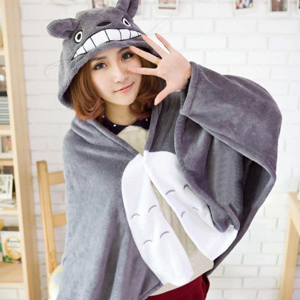 My Neighbor Totoro Lovely Plush Soft Cloak Scarves Shawl Totoro cat cape cloak coral fleece air blanket robe - TeeAmazing