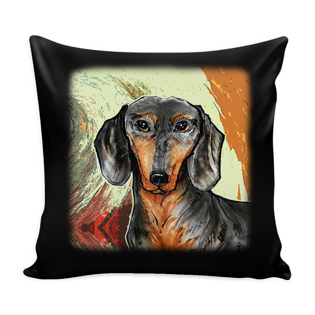 Dachshund Painting Dog Pillow Cover - Dachshund Accessories - TeeAmazing