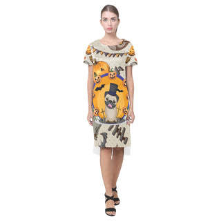 Pug Halloween Short Sleeves Casual Dress - TeeAmazing