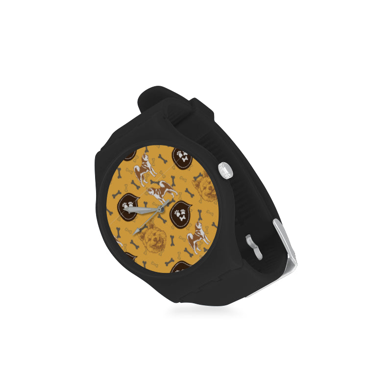 Akita Pattern Black Unisex Round Rubber Sport Watch - TeeAmazing