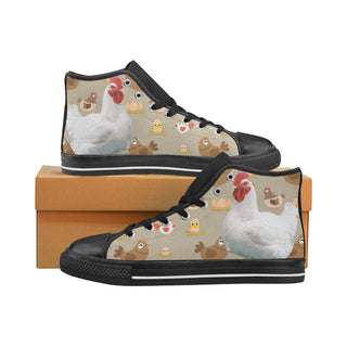 Chicken Lover Black High Top Canvas Shoes for Kid - TeeAmazing