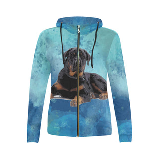 Rottweiler V2 All Over Print Full Zip Hoodie for Women - TeeAmazing