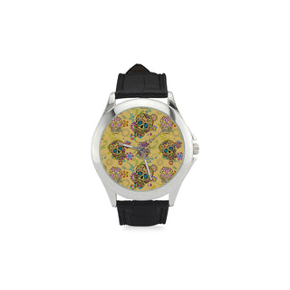 Sugar Skull Women's Classic Leather Strap Watch(Model 203) - TeeAmazing