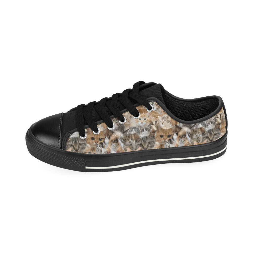Cat Black Low Top Canvas Shoes for Kid - TeeAmazing