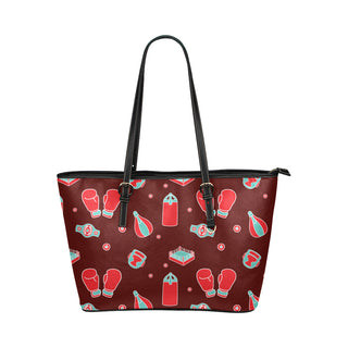 Boxing Pattern Leather Tote Bag/Small - TeeAmazing