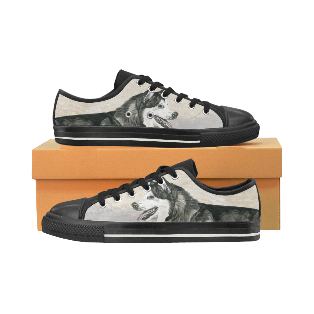 Alaskan Malamute Water Colour Black Low Top Canvas Shoes for Kid - TeeAmazing