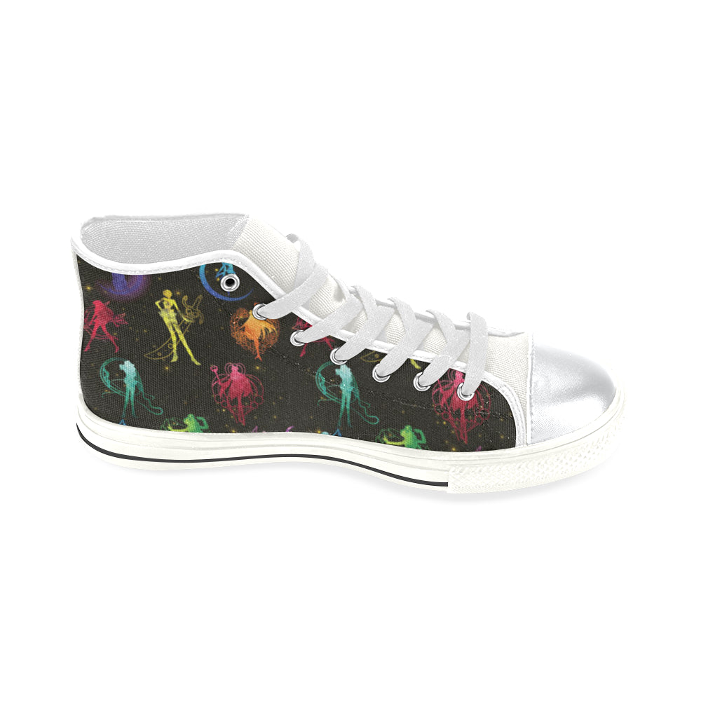 All Sailor Soldiers White High Top Canvas Women's Shoes/Large Size - TeeAmazing