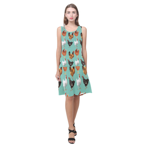 Chicken Pattern Sleeveless Splicing Shift Dress - TeeAmazing