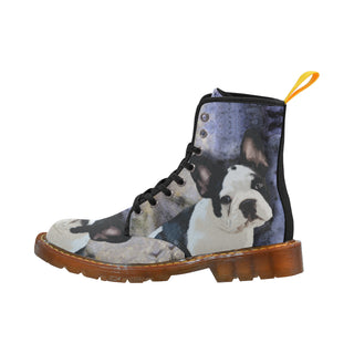 French Bulldog Portrait Black Martin Boots For Women Model 1203H - TeeAmazing
