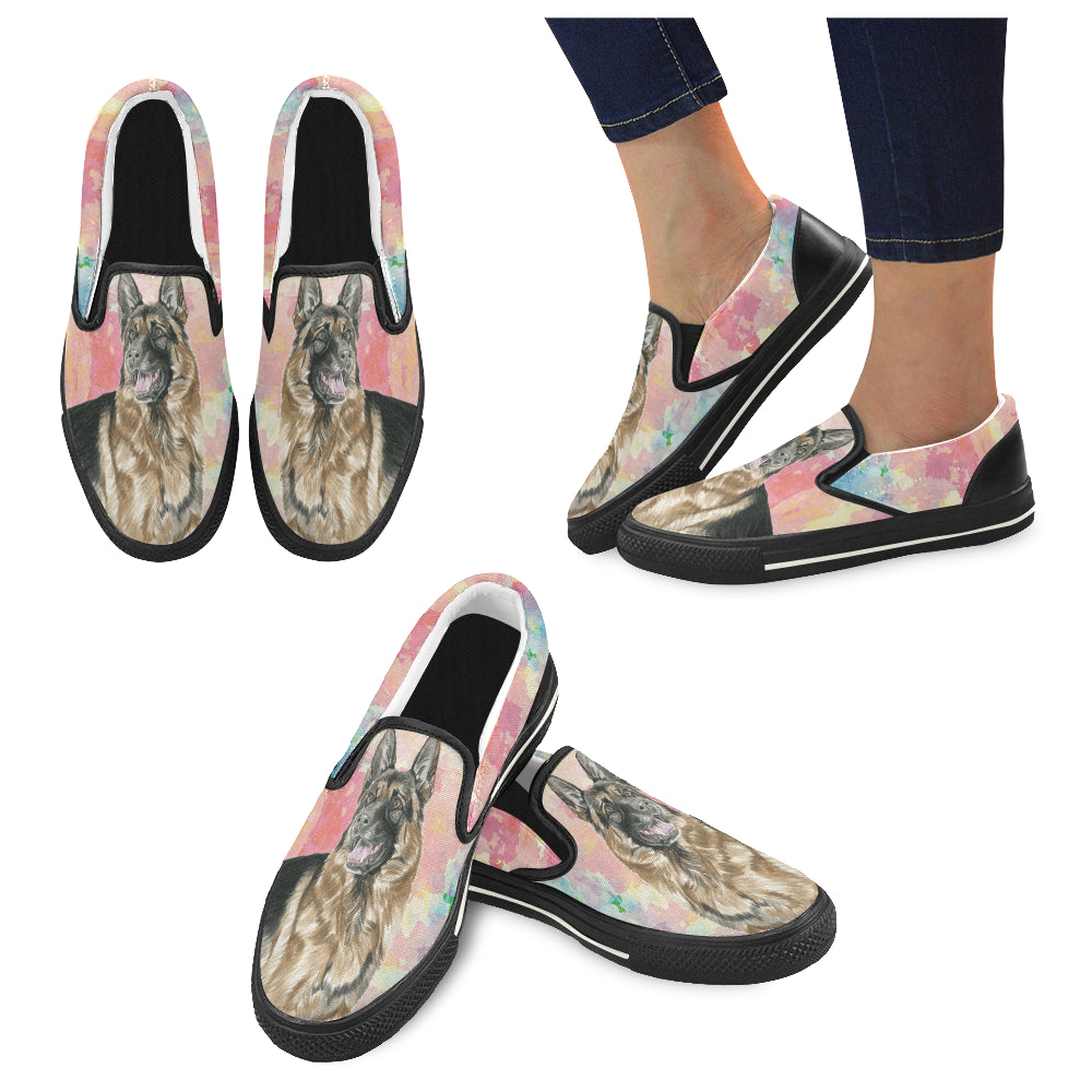 German Shepherd Water Colour No.2 Black Women's Slip-on Canvas Shoes/Large Size (Model 019) - TeeAmazing
