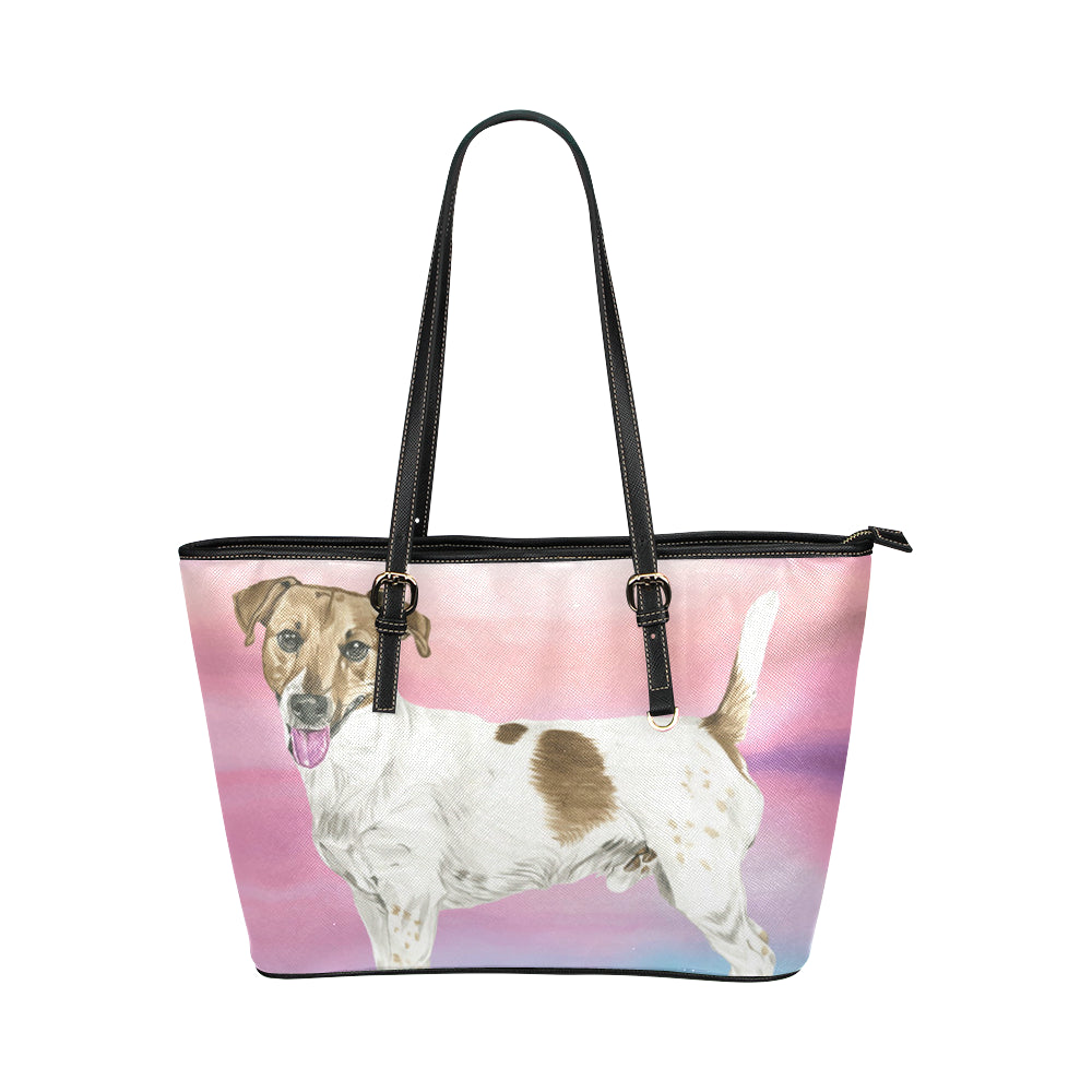 Jack Russell Terrier Water Colour No.1 Leather Tote Bag/Small - TeeAmazing