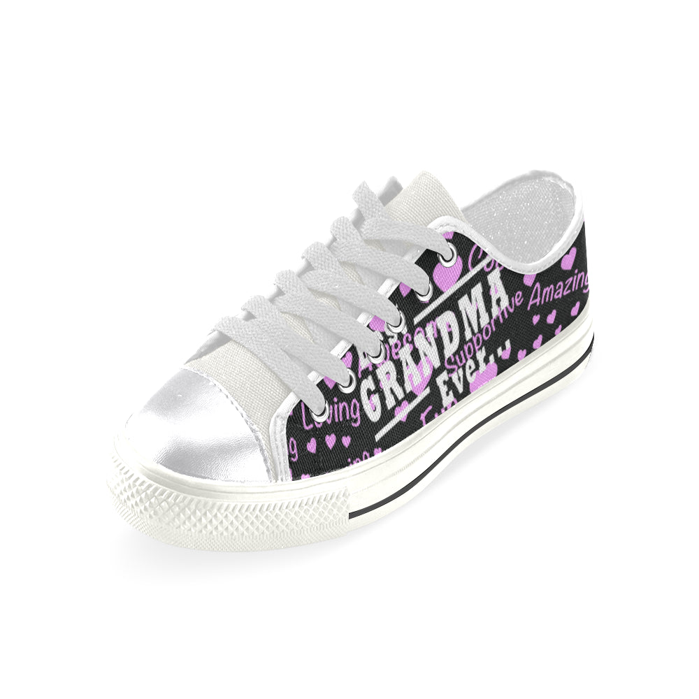 Best Grandma Ever White Women's Classic Canvas Shoes - TeeAmazing